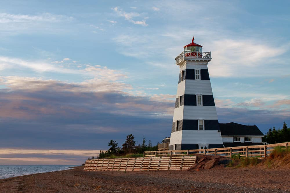 lighthouse and boardwalk in PEI