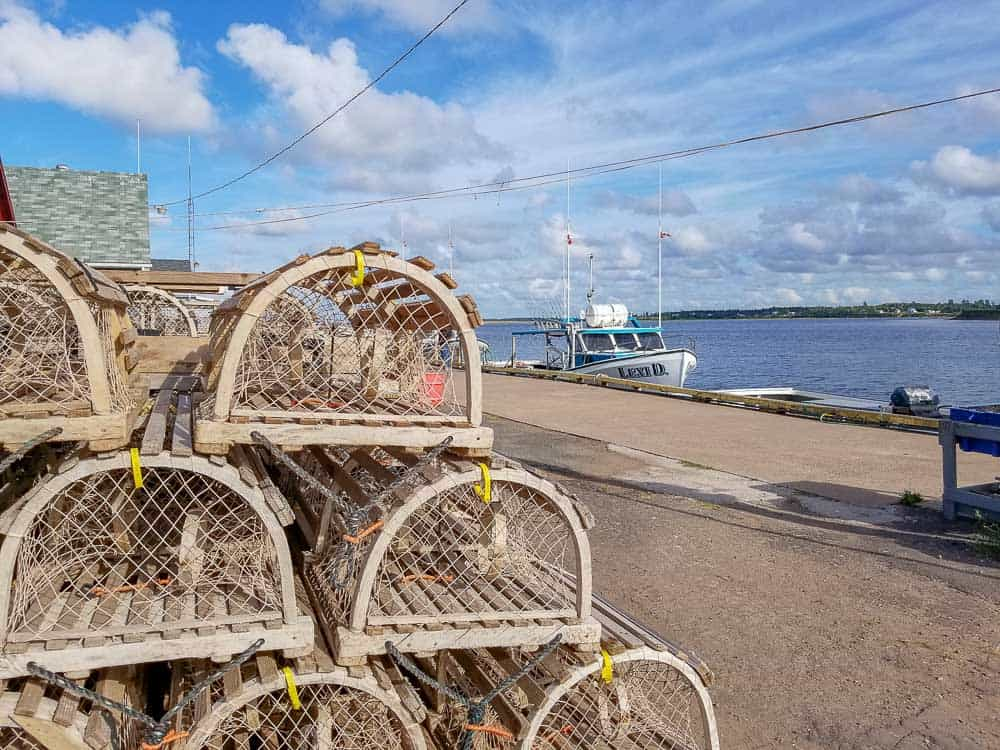 crates and boats at PEI harbour