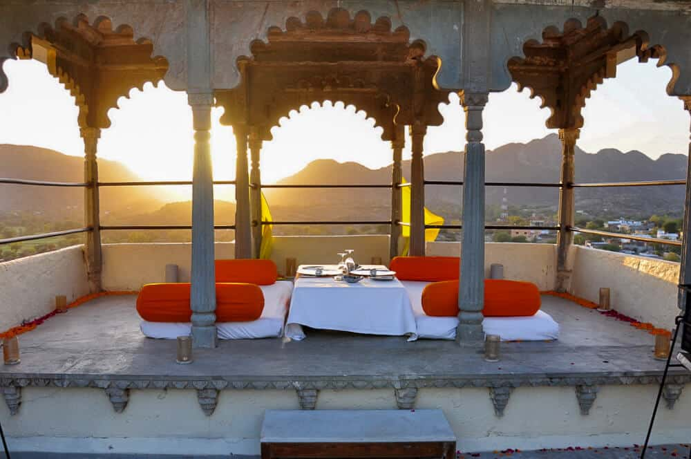 outdoor dining and sunset in Rajasthan, India