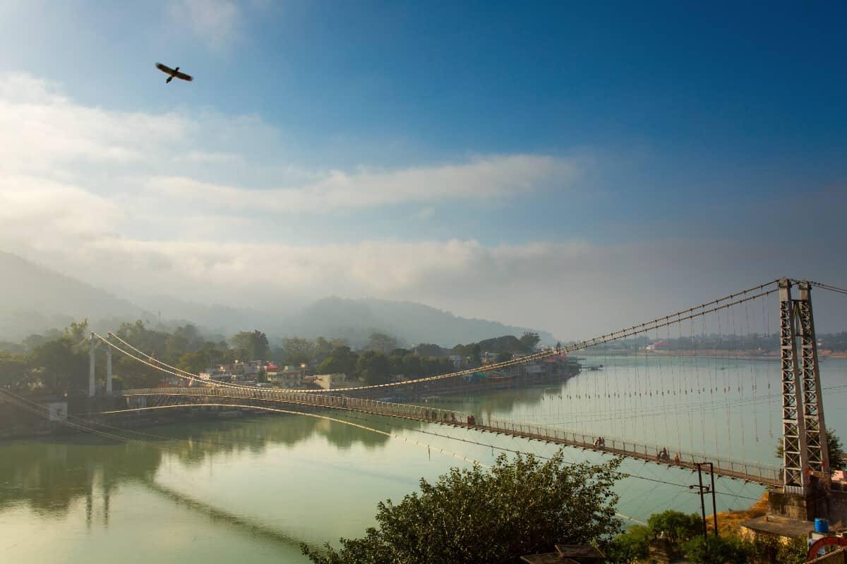 Ganga river and bridge in Rishikesh, India