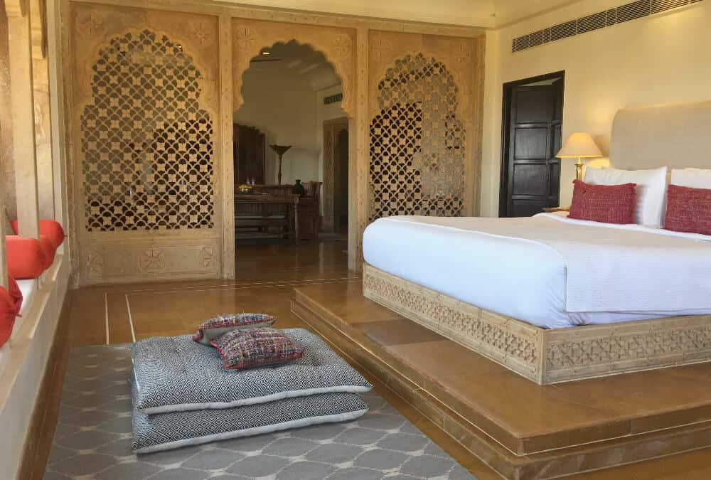 A best hotel in India, the bedroom of Surygarh in Jaisalmer, India