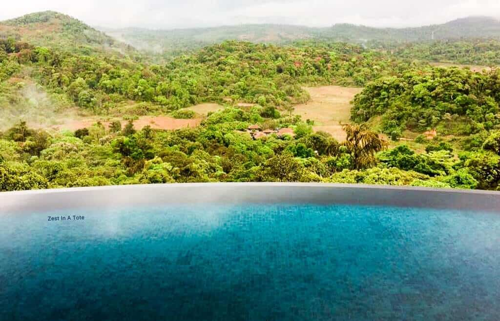 pool with view of Coorg, Karnataka, India