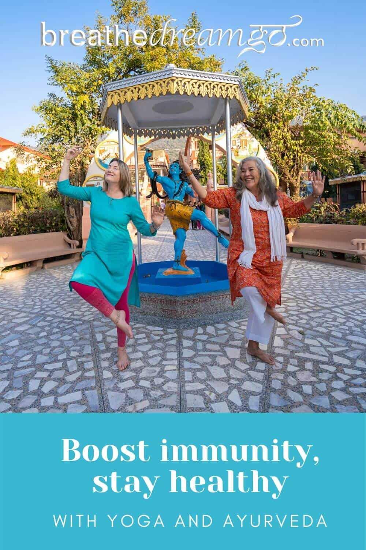 MW in Yoga pose, Rishikesh, India