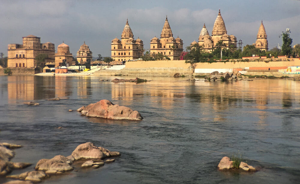 Orchha chattris on Betwa River in Madhya Pradesh, India