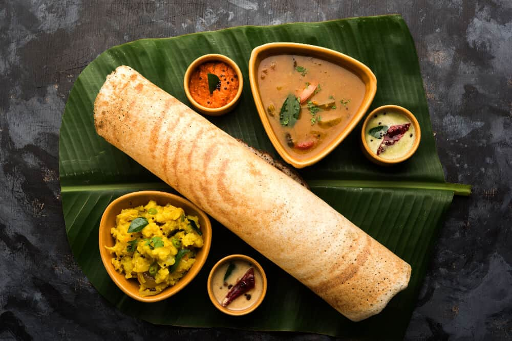 Dosa on a banana leaf is a famous Indian food