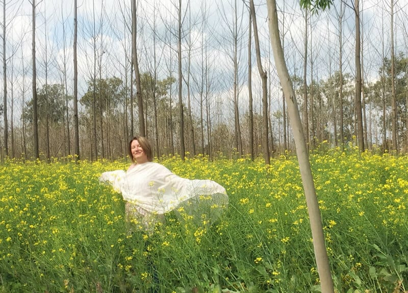 Mariellen Ward in mustard field, Punjab India