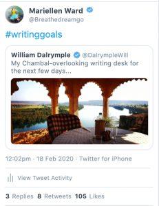 writing goals tweet