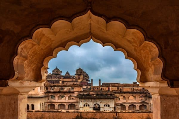 Orchha Fort as seen through a window