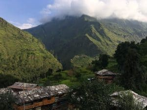 Rooftops and mountains in Indian Himalayas