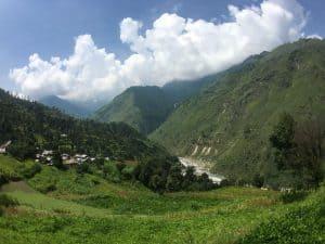 Mountain scene in Himalayas in India