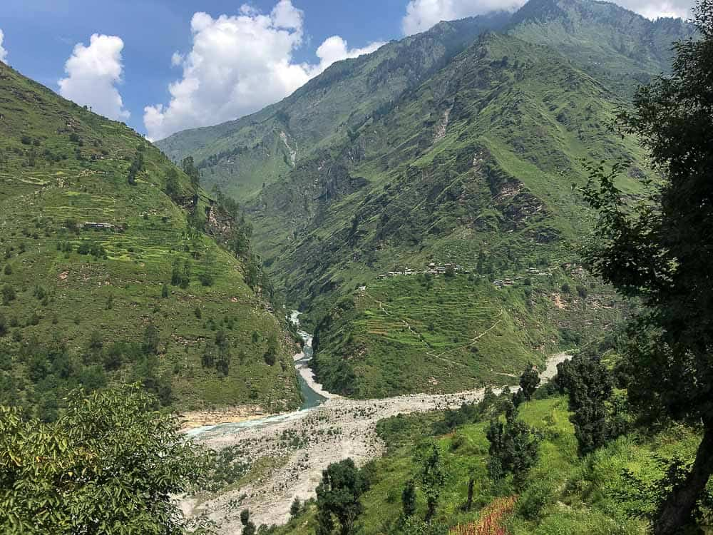 Mountains and river in Uttarakhand, India