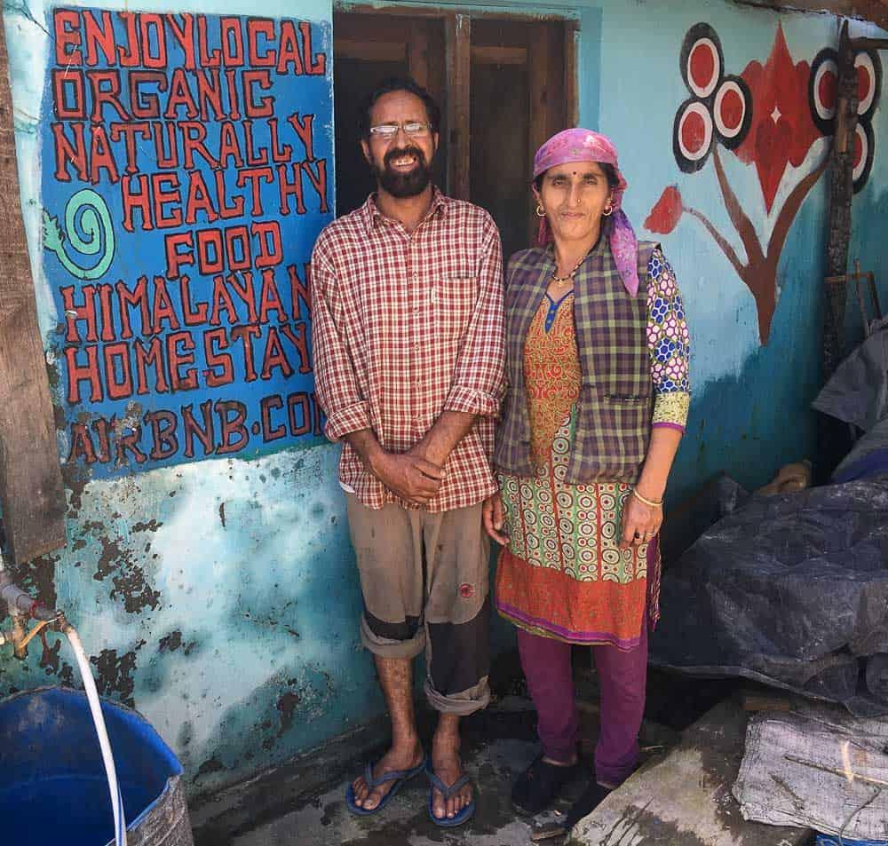 Man and woman in Himalayan village, Uttarakhand, India