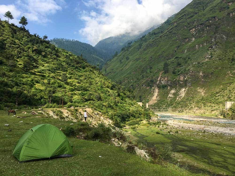 Camping in Himalayan village
