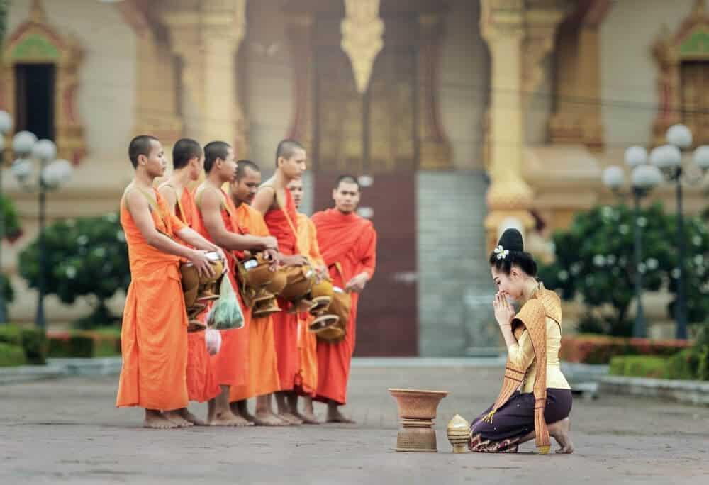 monks at prayer in Thailand