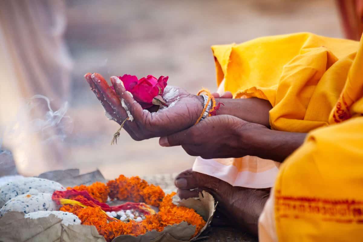 hands in prayer ritual in India