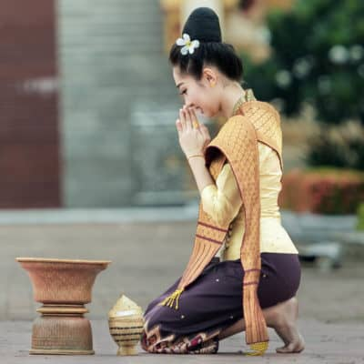 Asian woman in prayer