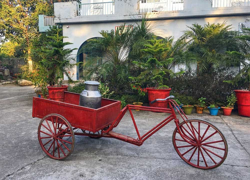 Aurovalley Ashram milk cart