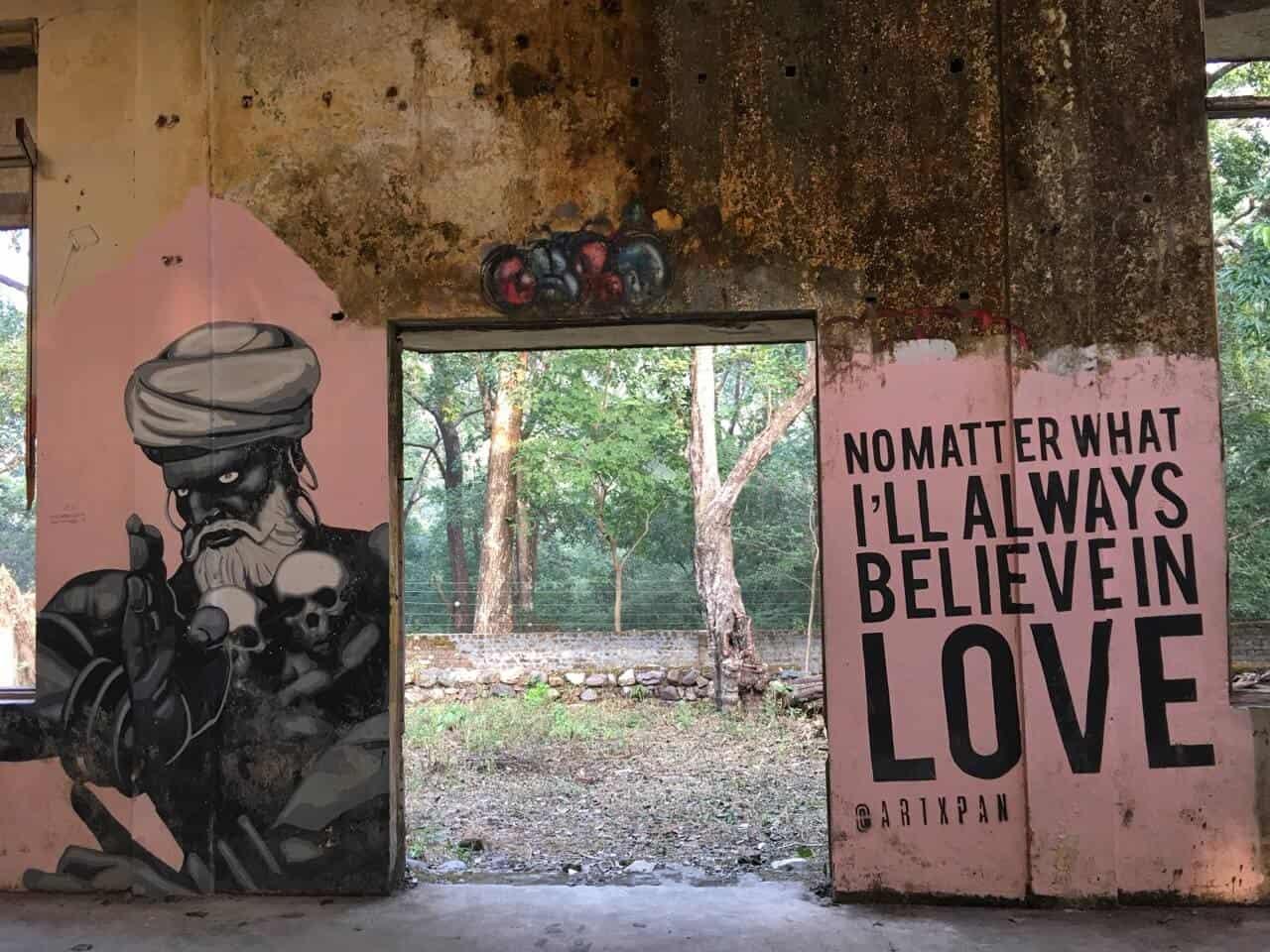beatles ashram, Rishikesh murals