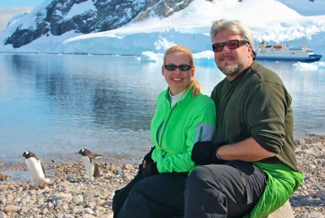 Mindful travellers Bret and Mary in Antarctica