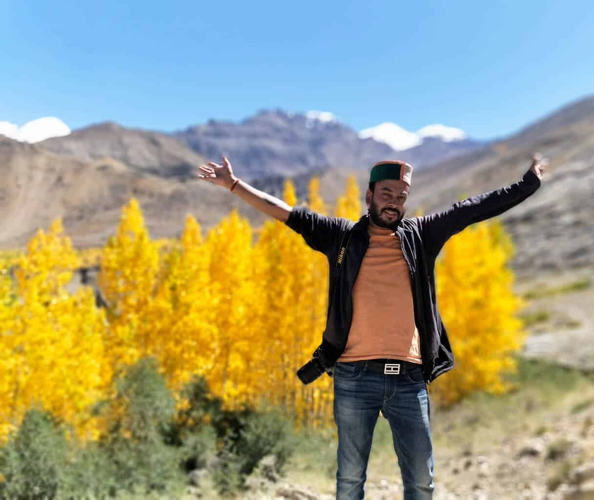 Mindful traveller Shubham in Himalayan mountains in India