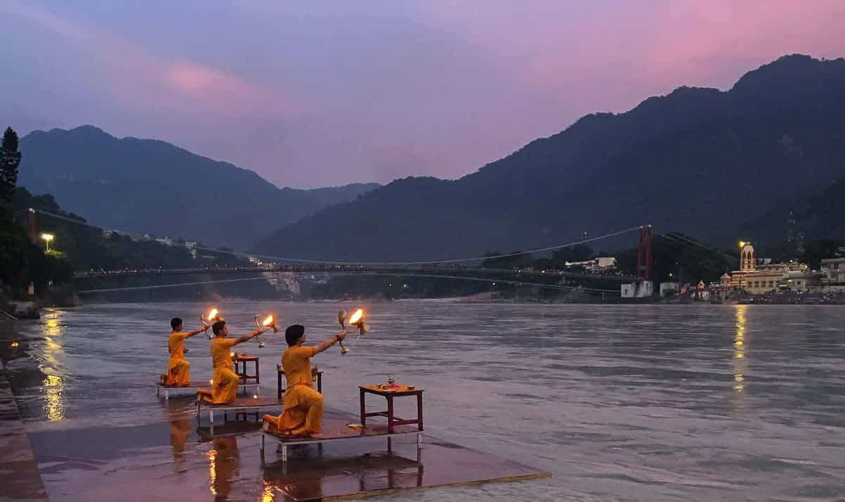 Ganga aarti at dusk in Rishikesh