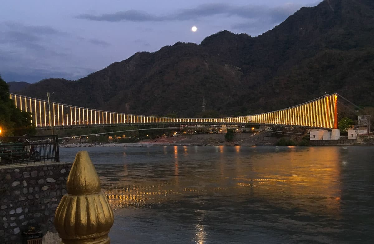 Ganga River at night in Rishikesh