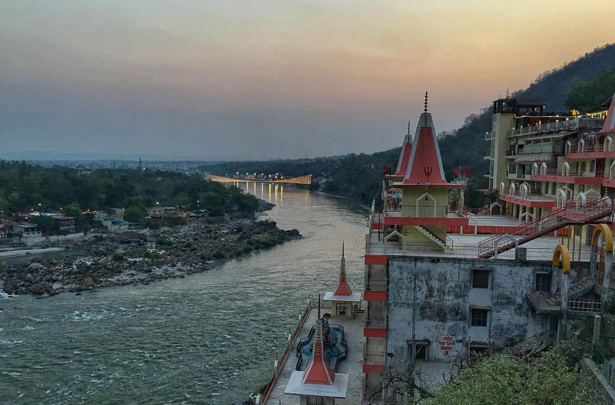 Ganga River view at dusk in Rishikesh