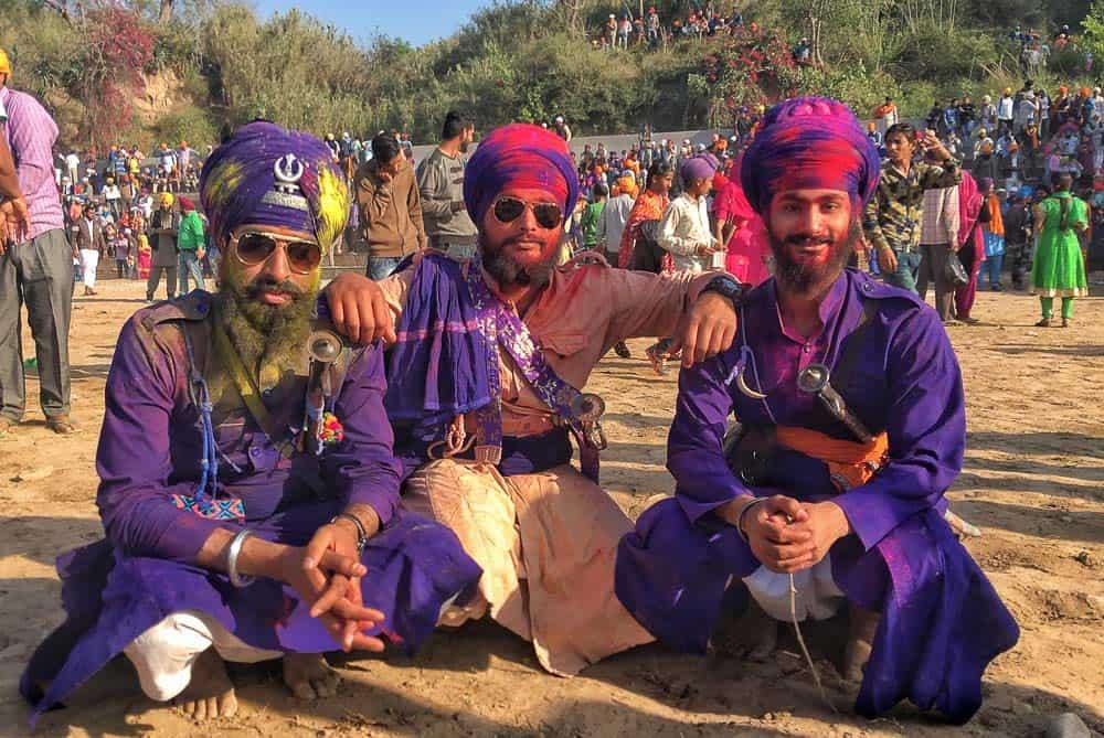 3 Sikh men at Hola Mohalla, Punjab
