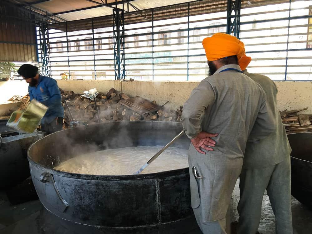 Men cooking food at langar, Golden Temple, Amritsar, Punjab