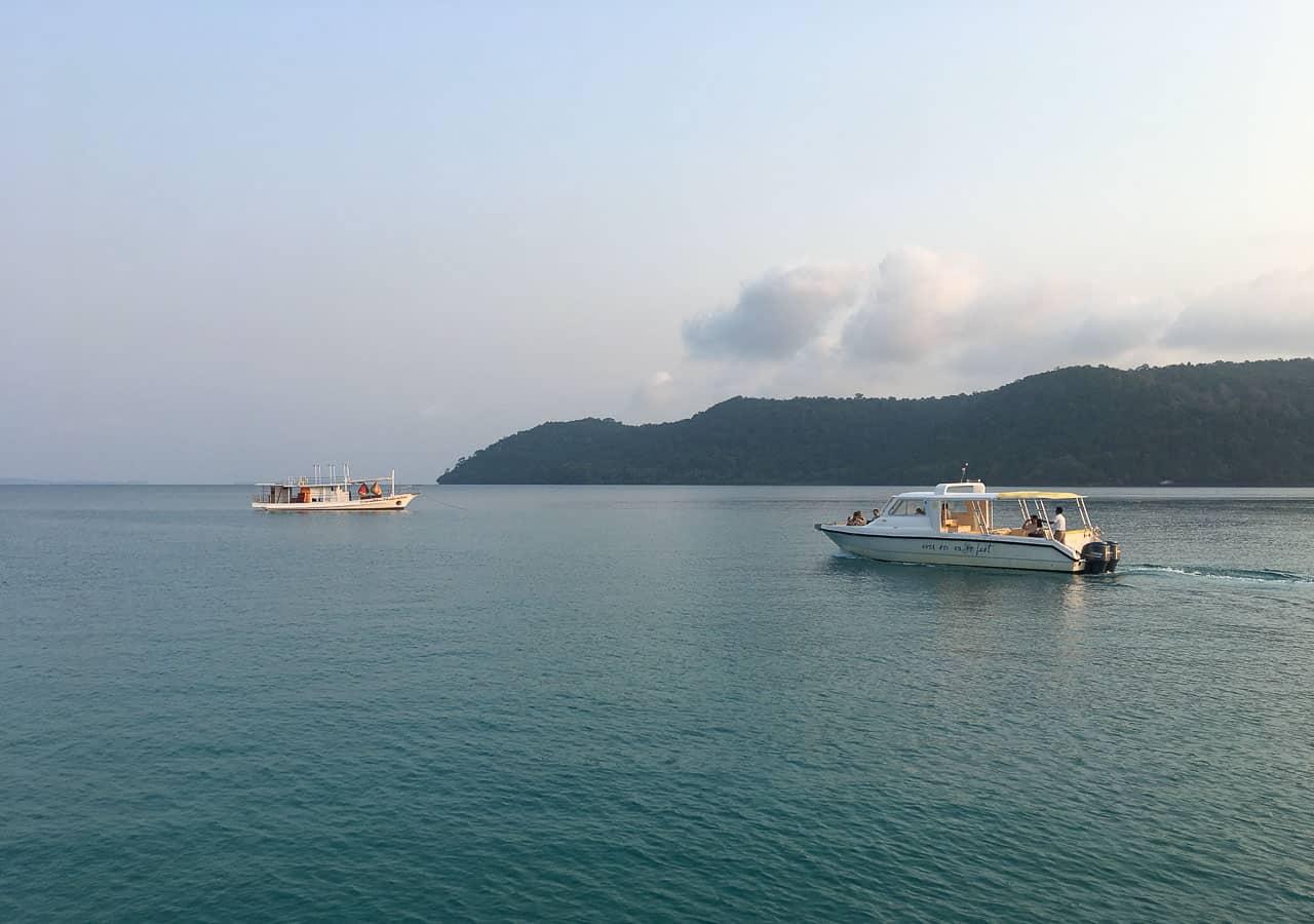 boats on water at Soneva Kiri, Thailand resort