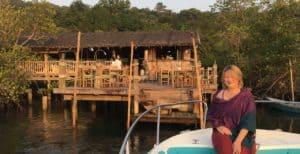 Arriving to Thai restaurant by boat at Soneva Kiri, Thailand