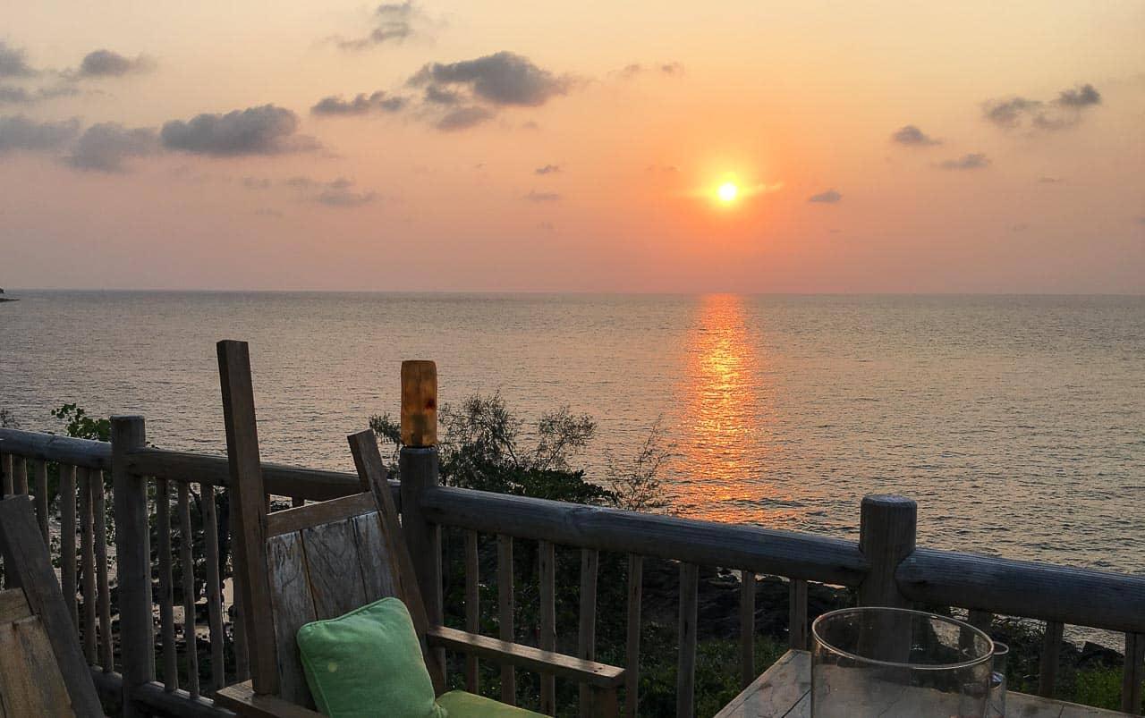 view of sunset at Thailand resort Soneva Kiri
