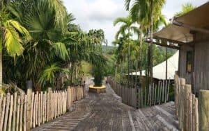 wooden walkway with trees at Thailand resort Soneva Kiri