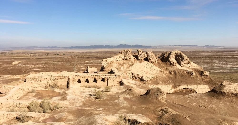 Desert fortress in Uzbekistan with mountains