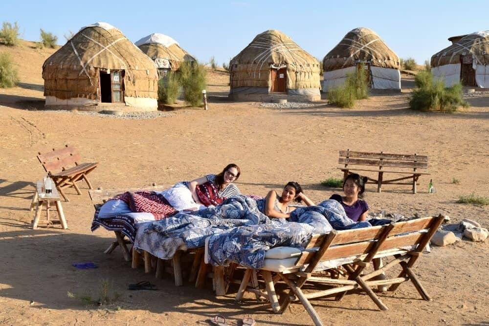 women at Yurt camp, Aydarkul, Uzbekistan Tourism