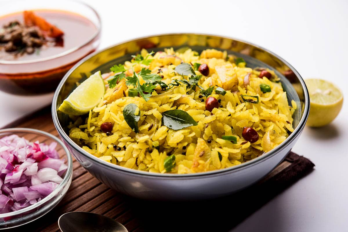 bowl of poha, a street food of India