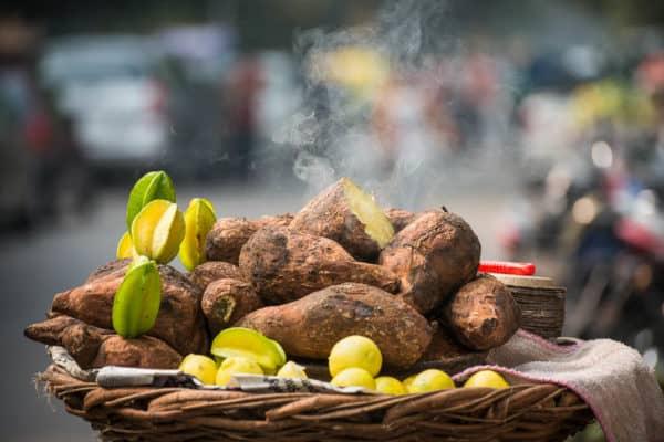 sweet potatoes, a street food of India