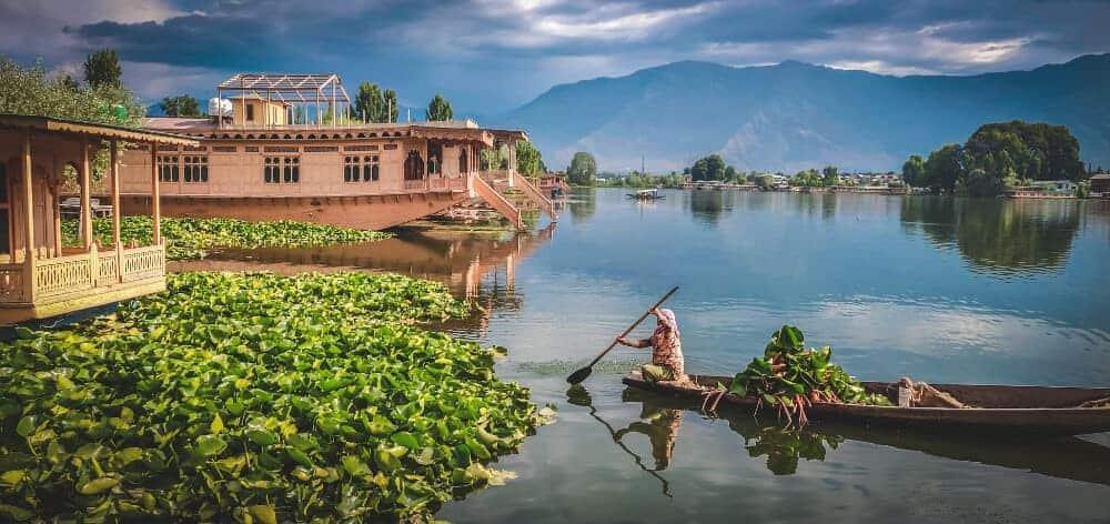 Dal Lake Kashmir India in monsoon